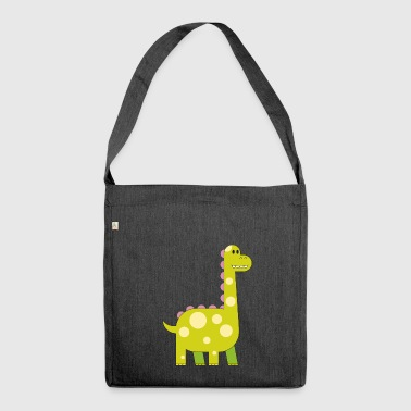 happy dinosaur cuddly toy child sweet primal time - Shoulder Bag made from recycled material