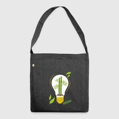 green light bulb - Shoulder Bag made from recycled material