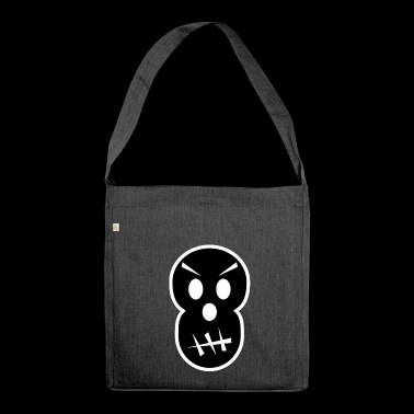 grimmiger Totenkopf - Schultertasche aus Recycling-Material