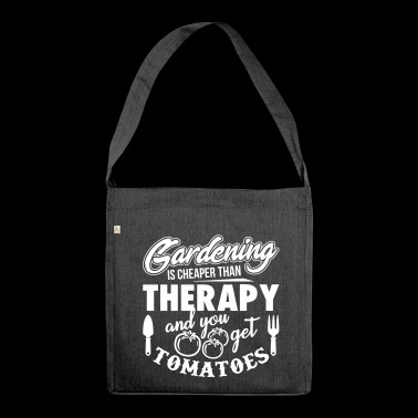 Gardening is cheaper than therapy - Schultertasche aus Recycling-Material
