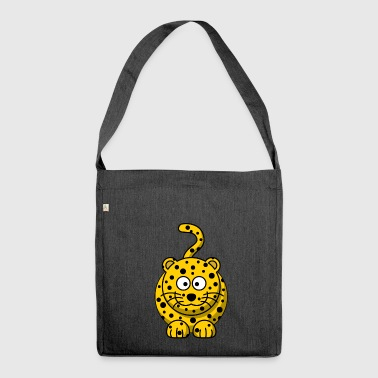 Leopard Cartoon - Schultertasche aus Recycling-Material