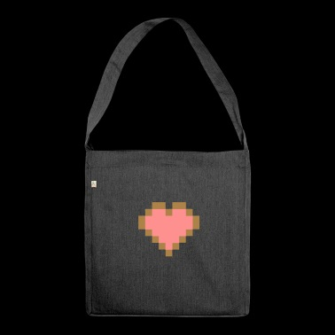 Pixel Heart - I Love PIXEL - Shoulder Bag made from recycled material