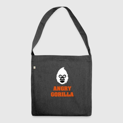 angry_gorilla_white - Schultertasche aus Recycling-Material