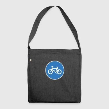 Road sign bicycle blue - Shoulder Bag made from recycled material
