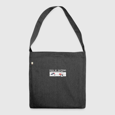 Push my button funny sayings - Shoulder Bag made from recycled material