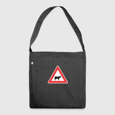 Road Sign cow - Shoulder Bag made from recycled material