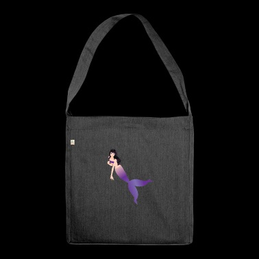 Mermaid / Mermaid: Mermaid with dark hair - Shoulder Bag made from recycled material