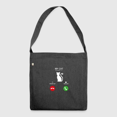 Call Mobile Anruf cat katze cats - Schultertasche aus Recycling-Material