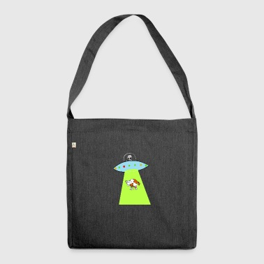 Cow and UFO - Shoulder Bag made from recycled material