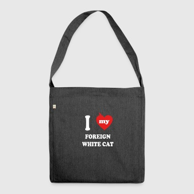 I love fat cats FOREIGN WHITE CAT - Shoulder Bag made from recycled material