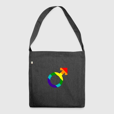 Gay pride rainbow men symbol - Shoulder Bag made from recycled material