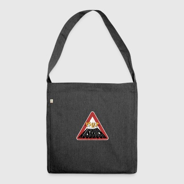 Caution rusty shield courage erupting volcano - Shoulder Bag made from recycled material