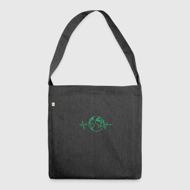 Earth Day / Earth Day: heart rate of the earth - Shoulder Bag made from recycled material