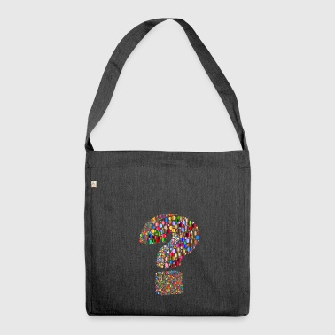 Rainbow colored question mark - Shoulder Bag made from recycled material