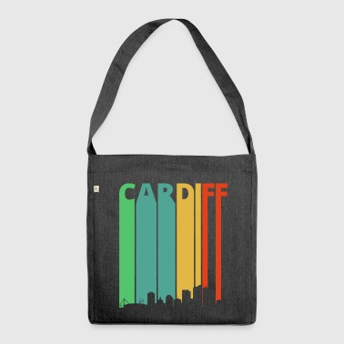 Vintage Retro Cardiff City Skyline.Cityscape.Wales - Shoulder Bag made from recycled material