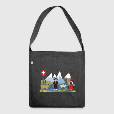 Alpine scene blue - Shoulder Bag made from recycled material