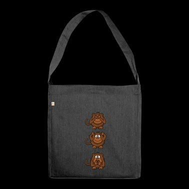 monkey faces - Shoulder Bag made from recycled material