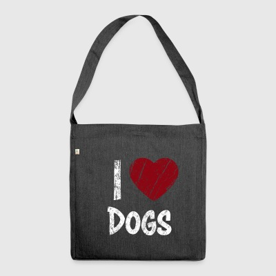 I Love Dogs used Look - Schultertasche aus Recycling-Material