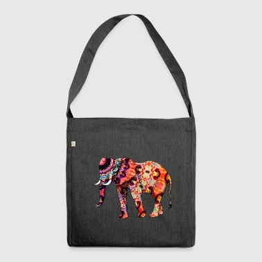 Elefant bunt - Schultertasche aus Recycling-Material