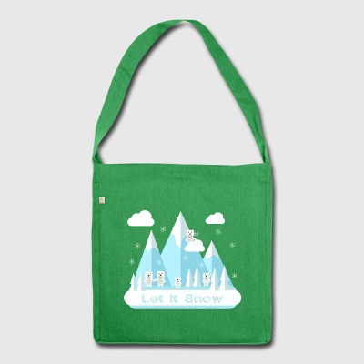 Let It Snow.Bears.Mountains.Snowflakes.Nature.SALE - Torba na ramię z materiału recyklingowego