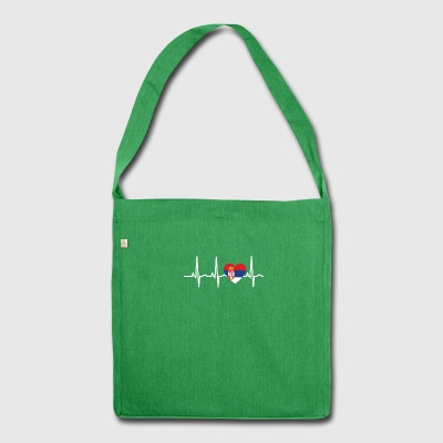 I LOVE ekg heartbeat SERBIA serbia balkan - Shoulder Bag made from recycled material