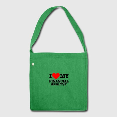 i love financial analyst - Schultertasche aus Recycling-Material