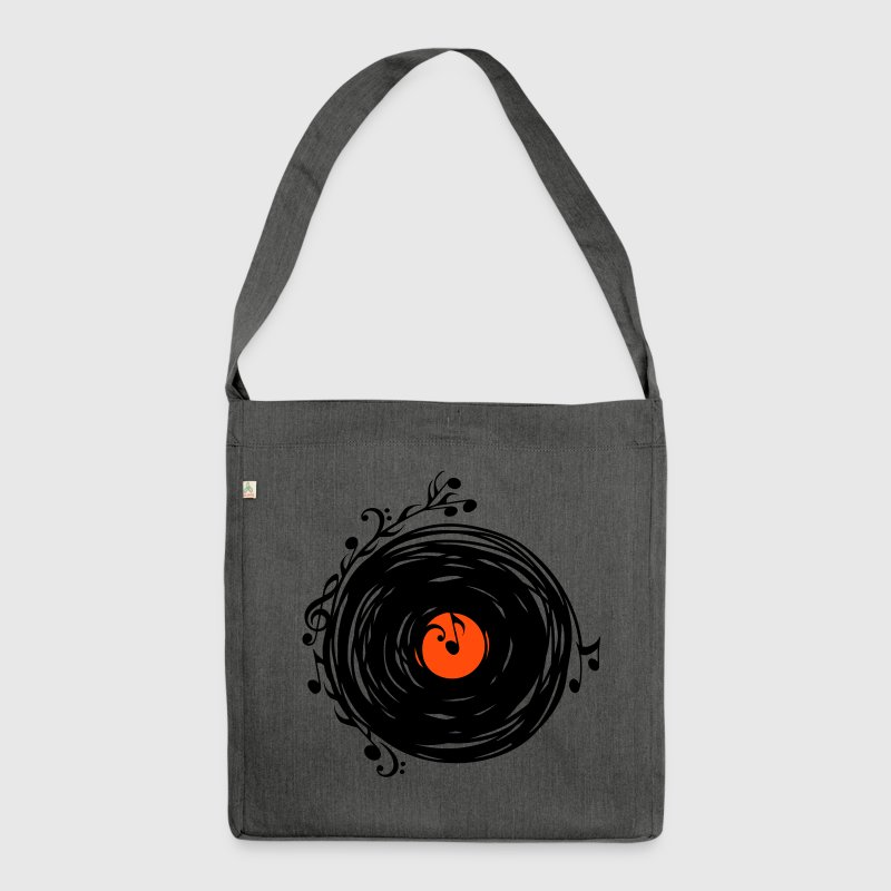 Vinyl record, music notes, bass, clef, key, party - Shoulder Bag made from recycled material