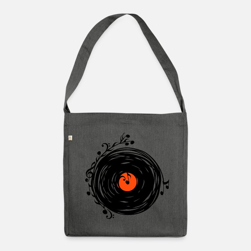 Festival Bags & Backpacks - Vinyl record, music notes, bass, clef, key, party - Shoulder Bag recycled dark grey heather