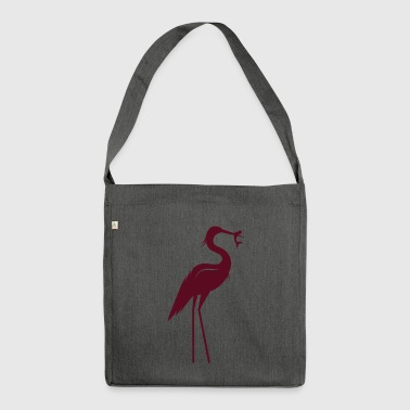 Heron with fish in its beak - Shoulder Bag made from recycled material