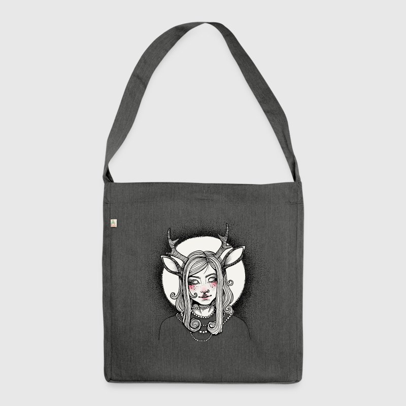Hipster Deer Girl - Shoulder Bag made from recycled material