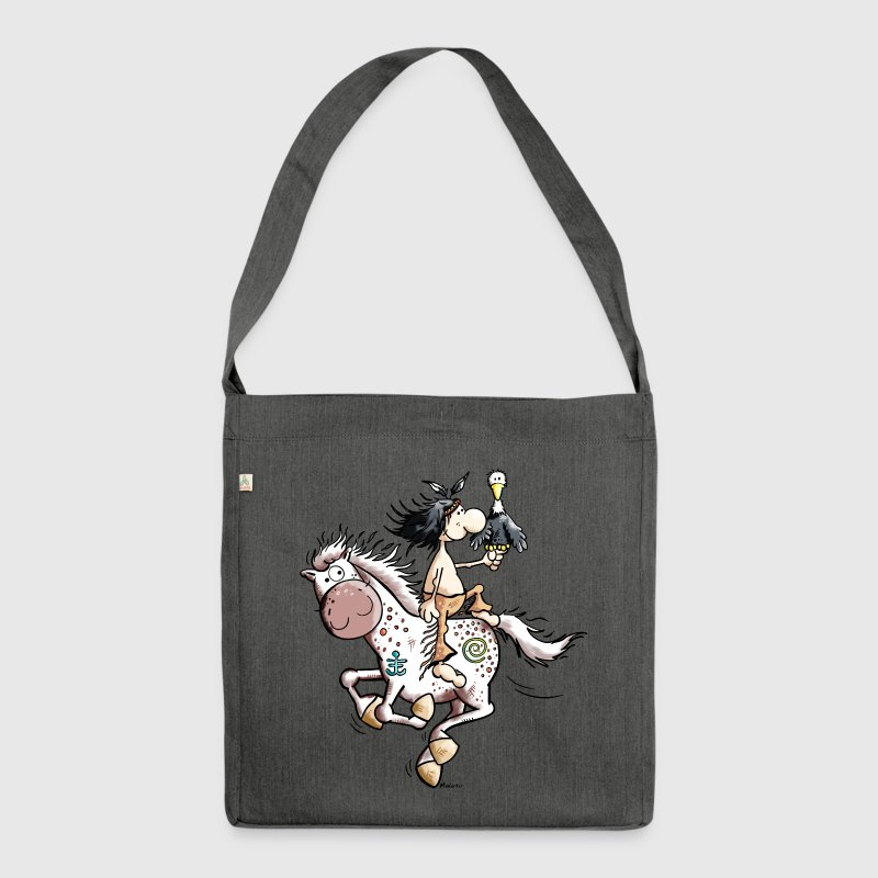 American Indian with wild horse - Shoulder Bag made from recycled material