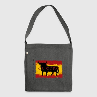 Spain Flag with bull - Schultertasche aus Recycling-Material