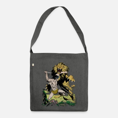 Tarzan and a wild lion - Shoulder Bag recycled