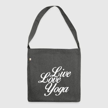 Live Love Yoga - Yoga motivatie - Fitness - Schoudertas van gerecycled materiaal