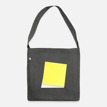 Note Clue yellow sticky note, sticky note, sticky note - Shoulder Bag made from recycled material