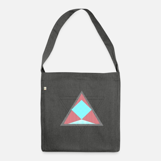 Red Bags & Backpacks - triangles - Shoulder Bag recycled dark grey heather