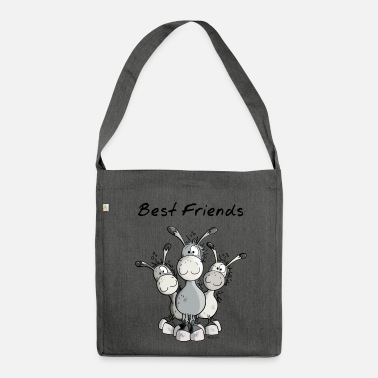 Donkey Best Friends - Donkey - Donkeys - Comic - Cartoon - Shoulder Bag made from recycled material