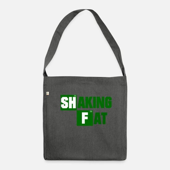 Silly Bags & Backpacks - Shake fat conversion to evil parody gift - Shoulder Bag recycled dark grey heather