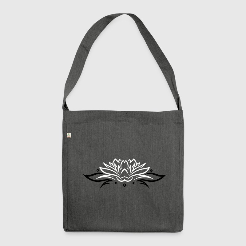 Large lotus flower with small tribal. - Shoulder Bag made from recycled material