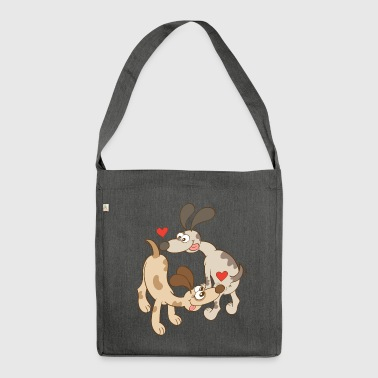 Dogs Falling in Love by Sniffing Butts - Shoulder Bag made from recycled material