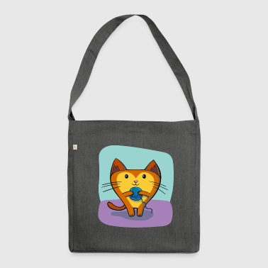 Cat with wool - Shoulder Bag made from recycled material