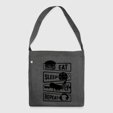 Eat Sleep Fly Repeat - Aircraft Pilot Airman Flight - Shoulder Bag made from recycled material
