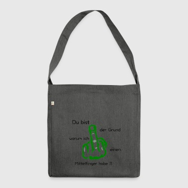 Middle Finger Gift Idea Funny saying - Shoulder Bag made from recycled material