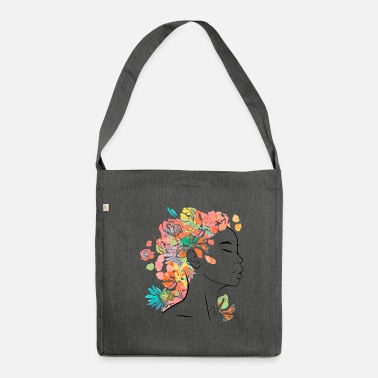 Afro Flower woman - Shoulder Bag made from recycled material