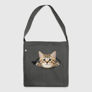 cat zipper pocket - Schultertasche aus Recycling-Material