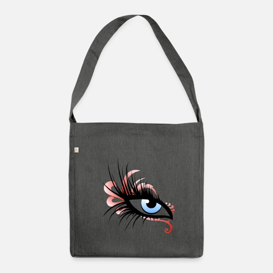 Eye Bags & Backpacks - eye eyes fioriture fantasy design 2603 p - Shoulder Bag recycled dark grey heather
