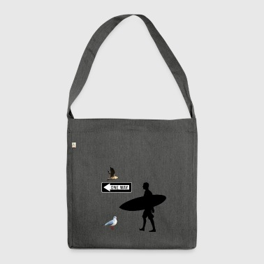 This way to the beach. Surfer. Beach. Beach. - Shoulder Bag made from recycled material