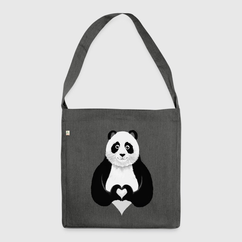 Cute Panda Heart Hand Sign - Shoulder Bag made from recycled material