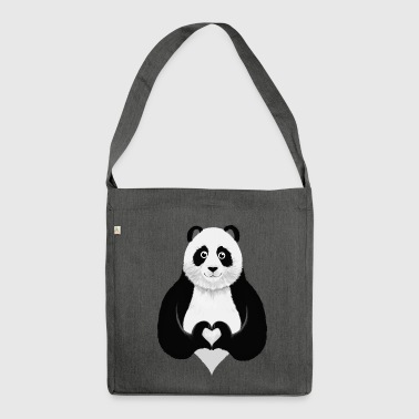 Cute Panda Heart Hand Sign - Schoudertas van gerecycled materiaal