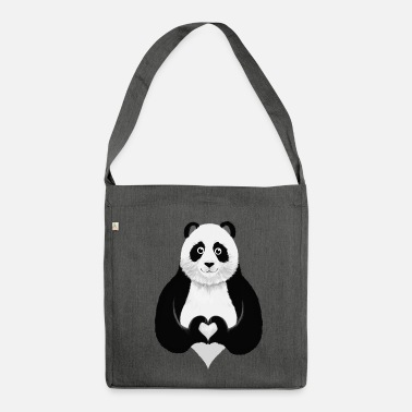 Collections Cute Panda Heart Hand Sign - Sac bandoulière recyclé